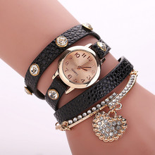 2016 New Arrived Casual Luxury Heart Pendant Women s Bracelet Wrist watches Dress Watches Women Fashion