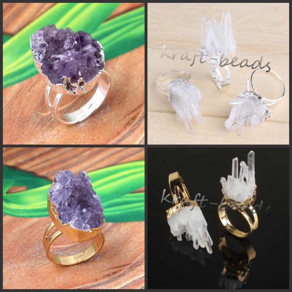 wholesale 12Pcs  Gold / Silver  Amethyst /White Crystal  Clusters Crystals Stone Random Shape Adjustable Finger Ring Jewelry