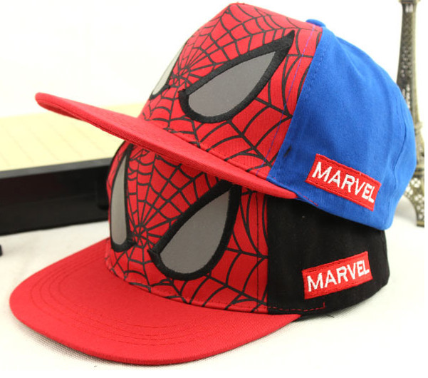 Black Blue Spider-Man Snapback Children Cap Adjustable Cute Trend Brim Boy Girl Baseball Hat Fishing Kids Summer Cap Fitted Hat(China (Mainland))