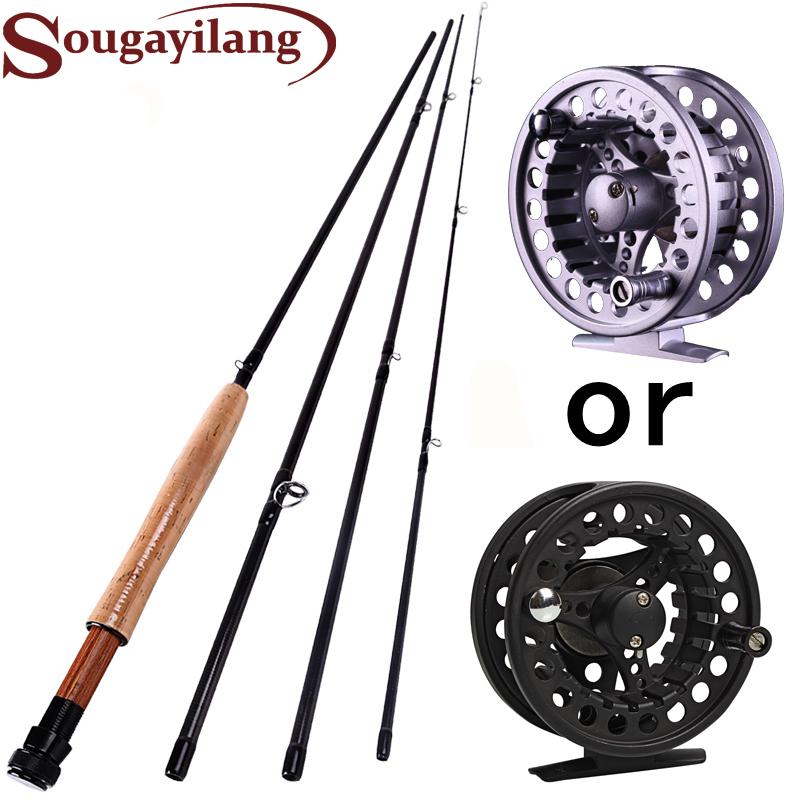 Sougayilang Fly Fishing Set Carbon Fly Fishing Rods 5/6 4 Sections 2.7M Fly Fishing Reels Fly Fishing Pole Set(China (Mainland))