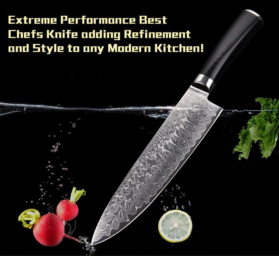 Buy 8 Inch Damascus chef knife Japanese Damascus VG10 cooking knives Damascus steel kitchen knife with Micarta handle Free shipping cheap
