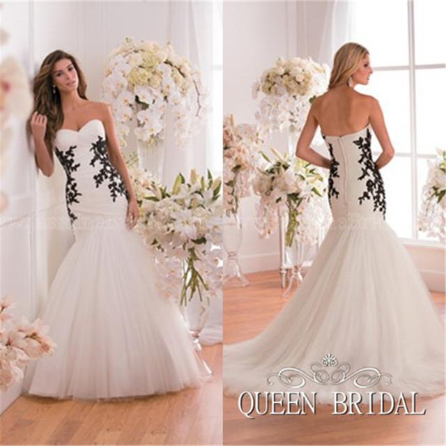 Без бретелек русалка свадьба платье черный кружево аппликация сердечком декольте свадебные платья свадьба платья W83