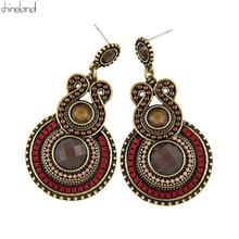 Antique Jewelry 2016 New Fashion Party Dresses Bohemia Style Enamel Beads Statement Drop Earrings Vintage Jewelry for Women(China (Mainland))