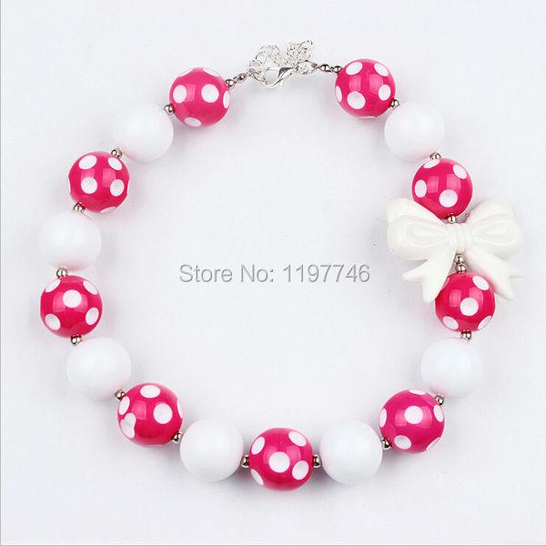 Горячее продавая 2 шт. / lot розовый белый бант большой акрил бусины ожерелье для малыша девочка ювелирные изделия