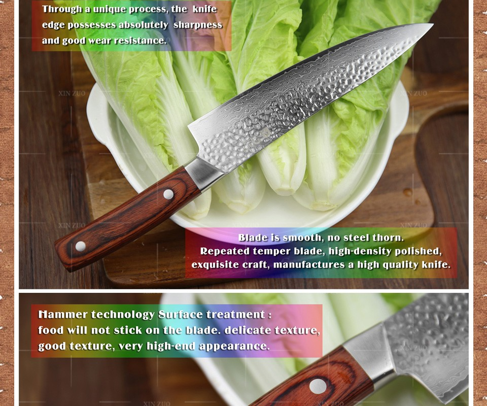 "Buy XINZUO 8 "" chef knife 67 layer Japanese Damascus steel kitchen knife senior meat/vegetable knife Color wood handle free shipping cheap"