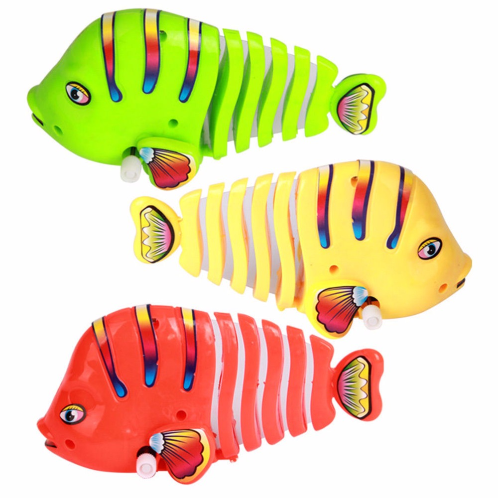 1pc child vintage clockwork Fish Toy plastic wind up robofish toys for boys and girls kids cute colorful fish tin toys(China (Mainland))