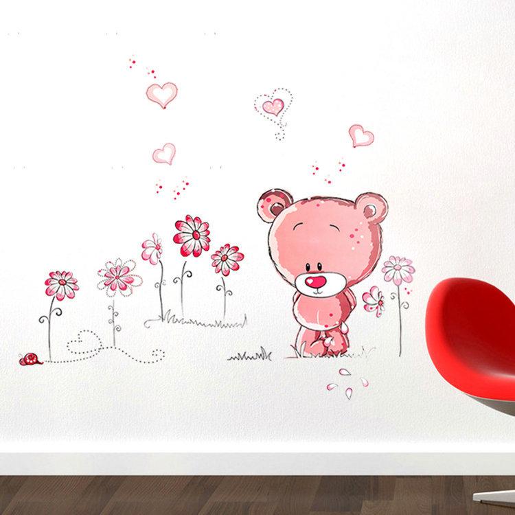 2015 New Cute Lovely Pink Bear Nursery Girl Baby Kids Children Art Decal Wall Sticker Bedroom wall stickers home decor(China (Mainland))