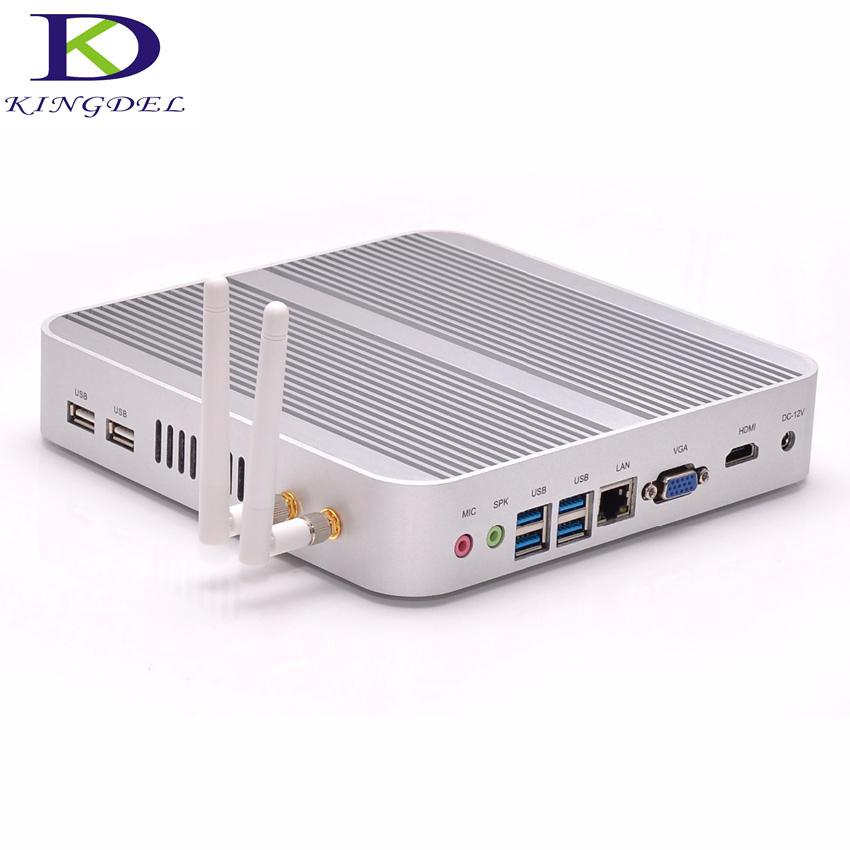 Mini pc Windows 10/Linux Intel Fanless i5-4200U fanless desktop computer,4*USB 3.0, HDMI,VGA,300M WiFi,HD 4K,3D game support(Hong Kong)
