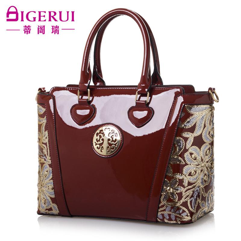 New fashion paint leather flower sequins woman single shoulder bag handbag inclined shoulder bag handbag<br><br>Aliexpress