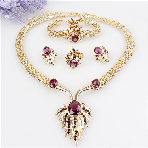 Hot Sale Flames Design 18K Gold Plated Austrian Crystal Necklace Bracelet Ring Earrings Jewelry Set For