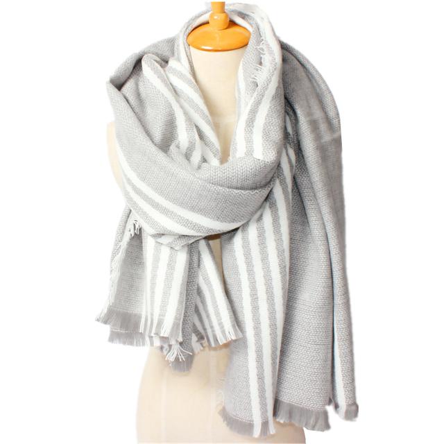 2016 новое поступление зима мода женщин высокое качество теплый акриловая смесь хлопка с 150 см вертикальная полоса кисточки толстый шарф шали