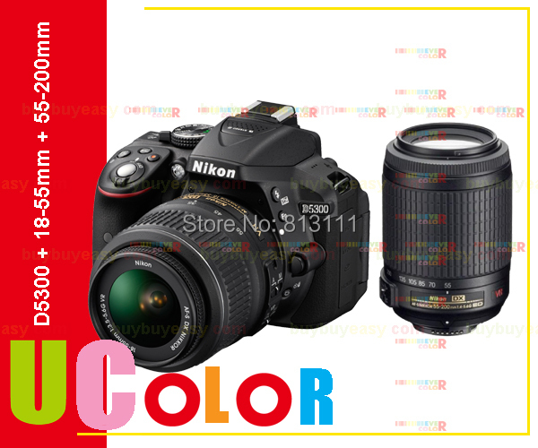 Original Nikon D5300 Digital SLR Camera + Nikkor 18-55mm VR & AF-S 55-200mm VR Lens(Hong Kong)