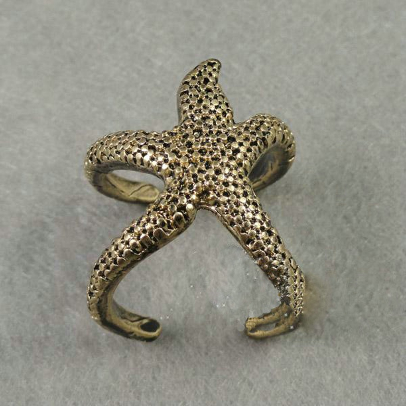 Free shipping 50pcs top quality elegant Big starfish  gold plated alloy rings unisex punk antique fashion hot gift<br><br>Aliexpress