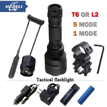 1 mode 5 mode led T6 L2 Tactical flashlight cree XML T6 XM-L2 torch led Waterproof flash light 18650 Rechargeable battery