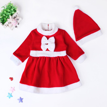 New Cute Baby Girls Christmas Romper Dress Polar Fleece Fabric Thickening Romper + Hat Set Baby Autumn Winter Vestidos Clothes(China (Mainland))