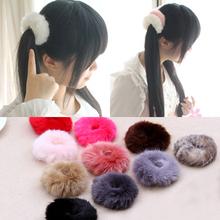 NEW 2016 Korean Cute Trendy Warm Soft Fake Rabbit Fur Woman Elastic Hair Rope Bands Girls Hair Accessories Rubber Band Headwear(China (Mainland))