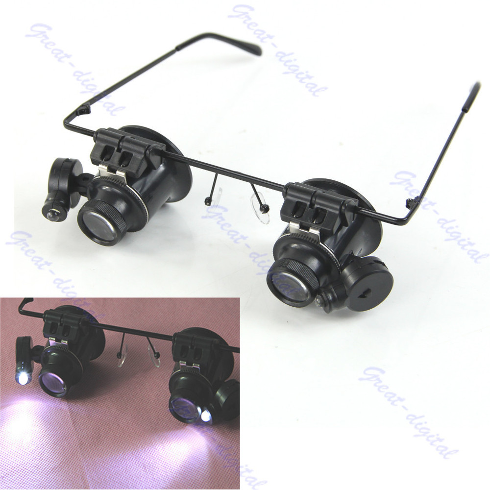 Free Shipping 20X Magnifier Eye Glasses Jeweler Loupe Lens LED Light Watch Repair Magnifying<br><br>Aliexpress