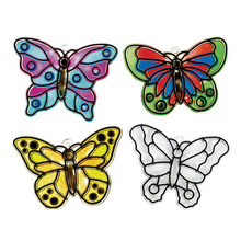 Free Shipping 12pcs/lot DIY Unfinished Plastic Butterfly Sun Catchers Craft Kit Funny Drawing Toys For Kids(China (Mainland))