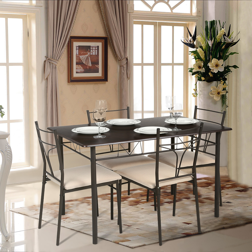 iKayaa 5PCS Modern Metal Frame Dining Kitchen Table Chairs Set for 4 Person Kitchen Furniture 120kg Load Capacity For Home(China (Mainland))