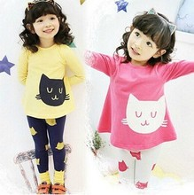 2016 Autumn Winter Girls Clothes Set Children Long Sleeve T-shirt O-Neck Tops Cartoon cat Clothes Fashion Clothing Sets for Kids(China (Mainland))