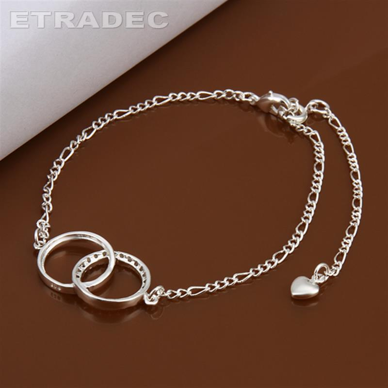 Double link circle ankle bracelet New Design Large Stock Delicate Handmade Cheap Silver Plated Anklet Bulk Sale(China (Mainland))