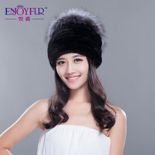 Women's knitted mink fur hat with silver fox fur top pom poms winter flat brim fur beanies caps 2015 brand new  lady skull hat(China (Mainland))