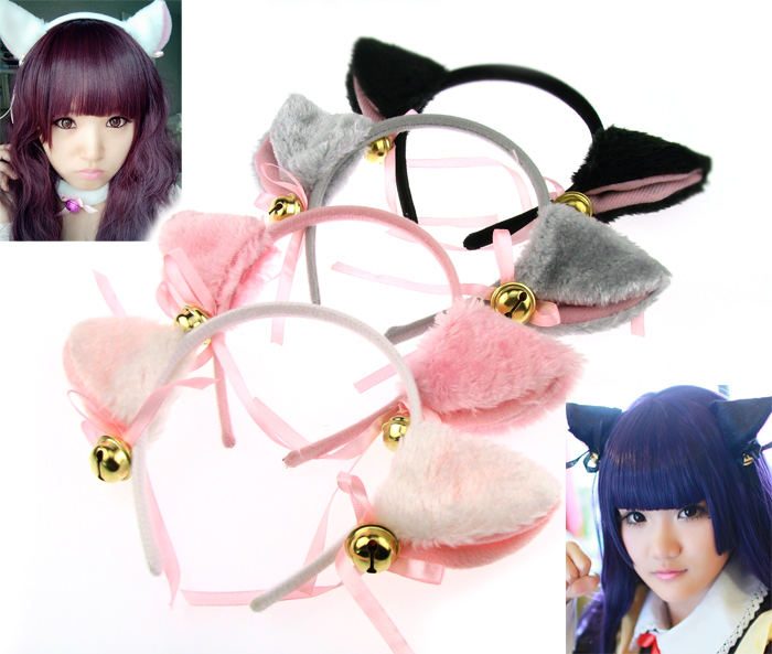 Hot Fashion Cosplay Party Anime Costume Cat Fox Ears Long Fur Headwear Pair(China (Mainland))
