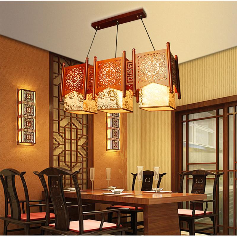 Фотография Modern Chinese wood sheepskin chandelier LED 3 lampshades chandelier restaurants Bar Restaurant Light