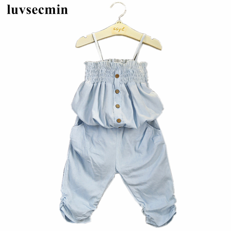 2-8Years New Fashion 2017 Girls Clothing Sets Kids Summer Baby Toddler Girl Clothes Denim Strap Tube Tops+Pants 2Pcs Suit JW1343(China (Mainland))