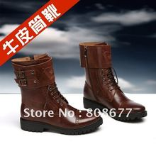 Brand 2012 Men Fashion Genuine Leather Flat Shoes, Winter Casual Men's Boots 40~45# New Arrival(China (Mainland))