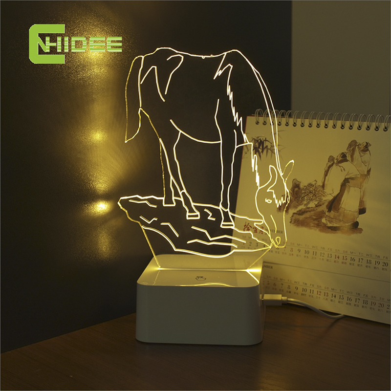 CNHIDEE USB Novelty Touch Charming Horse Lamp 3D Dimmable Night Light as Creative Festival Gifts Home Decor Desk Lamp for Friend(China (Mainland))