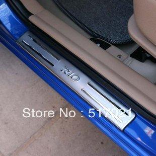freeshipping KIA RIO stainless steel scuff plate door sill 4pcs/set car accessories for KIA RIO