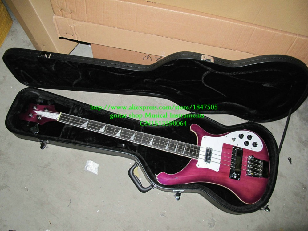Purple 4003 Bass Beauty 4 Strings Electric Bass Guitars High Quality 4 String 4003 Electric Bass Guitar with case(China (Mainland))