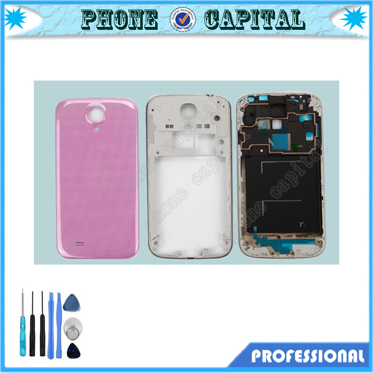 Brand new for samsung i9505 i9500 Full set housing complete,grey/pink front+middle frame+back cover+free tools+free shipping(China (Mainland))