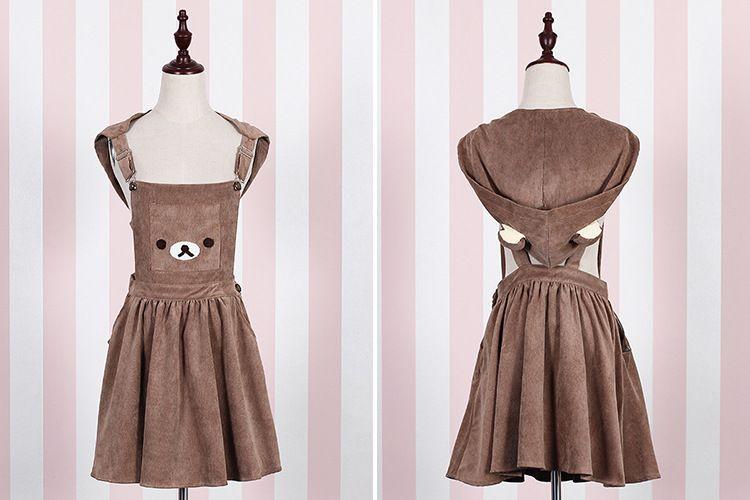 Cute Girl Backless Suspender Dress Kawaii Rilakkuma Overall Dress with Detachable Hat Harajuku small fresh Bear Short Dress XT01(China (Mainland))