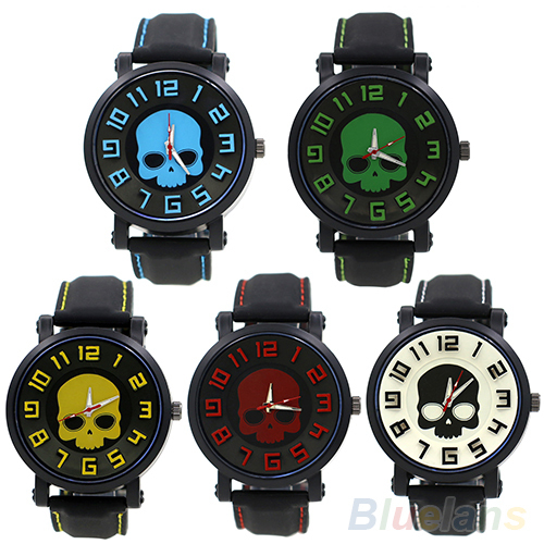 Men s Fashion Sports Style Wristwatch Silicon Skull Punk Quartz Wrist Watch 0S9Z