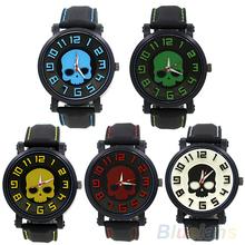 Deportes de moda de estilo de silicio reloj de pulsera punky del cráneo de cuarzo reloj de pulsera 0S9Z