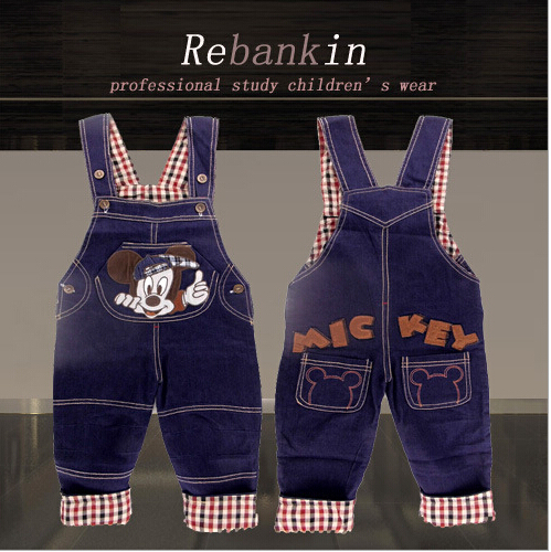 Retail cartoon mickey braces jeans children's baby jeans denim overalls Baby Boys/Girls Overall Jeans Long Trousers Kids pants(China (Mainland))