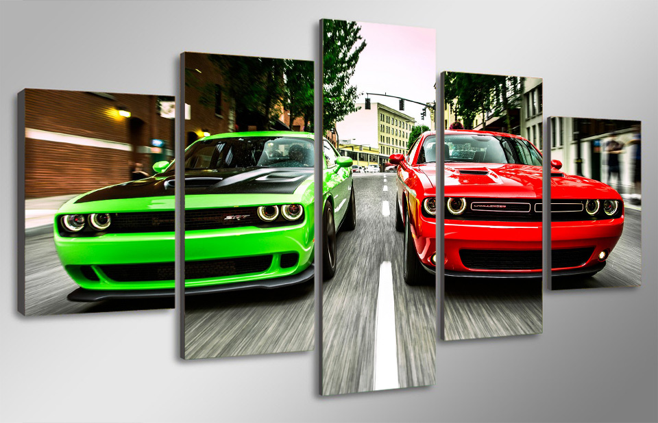 5 Panel No Framed Printed Challenger green red cars Painting children room decor print poster picture canvas modern oil painting(China (Mainland))