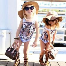 2016 Newest Kids Baby Girls One Piece Tiger Bikini Swimwear Swimsuit Bathing Suit Beachwear