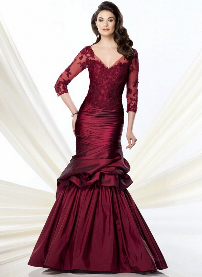 Buy red mermaid sleeve mother of the for Long dress for wedding mother of the bride