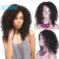 130 Density Deep Curly Full Lace Wig Peruvian Virgin Hair For Black Women Glueless Lace Front Wig With Baby Hair Natural Color