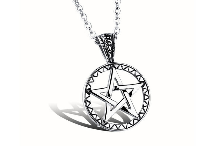 New Five Pointed Star Mans punk &rock Pendant Necklaces Vintage 316L Stainless Steel Mens Jewelry Free O Link Chain(China (Mainland))