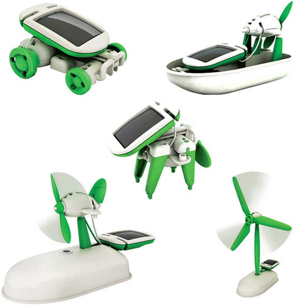 Solar Power 6 in 1 Toy Kit DIY Educational Robot Car Boat Dog Fan Plane Puppy toys Hot Selling(China (Mainland))