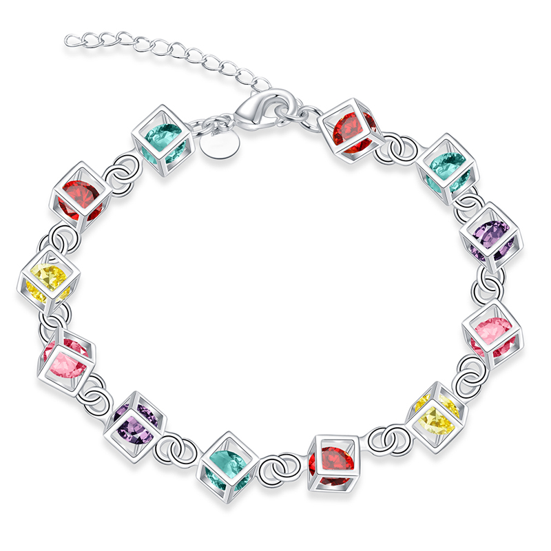 Hot AAA Zircon Charm Bracelets&Bangles Ladies Delicate Silver Plated Summer Amp Crystal Link Bracelet For Women Jewelry Gift(China (Mainland))