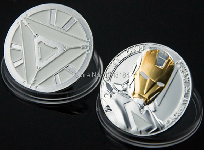 2 pcs/lot, wholesale Coins United States Hollywood movie The Avengers Iron Man Challenge Christmas Gift silver plated(China (Mainland))