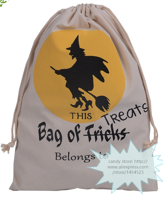 50pcs DHL New Halloween Sacks Bag Canvas Personalized Children Candy Gifts Bag Pumpkin Spider treat or trick Drawstring Bags(China (Mainland))