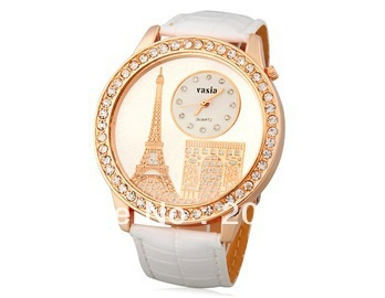 New  Eiffel Tower Design Water Resistant Quartz Movement Analog Watch with Faux Leather Strap (black.red.white)+free shipping