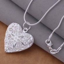 Free Shipping Silver plated Necklaces & Pendants Fashion Silver Jewelry Hollow out heart /cmxaleea dzjamqqa AN735