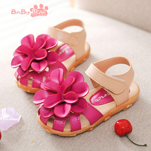 free shipping 2016 New Summer Cool Baby Girls Sandals Shoes Skidproof Toddlers Infant Children Kids Flower Shoes PU Leather(China (Mainland))